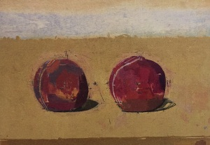 EUAN UGLOW (1932-2000) Two Peaches, 1992 oil on board 7 x 9 7/8 inches Browse & Darby