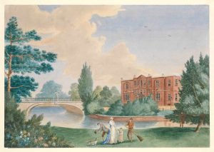 'View of Merton House showing Lady Hamilton and Horatia in the grounds' ® National Maritime Museum, London