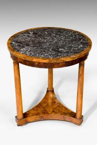 An exceptionally finely figured burr amboyna Gueridon of wonderful colour and patina and with original inset marble top. Second quarter of the 19th century, c. 1840 Height 30.00 inch (76.2 cm) Width 27.00 inch (68.6 cm) Depth 27.00 inch (68.6 cm)