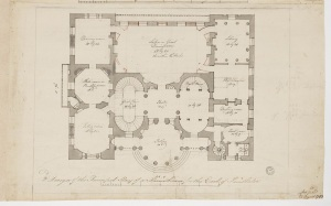 Adam office, design for an unexecuted urban palace for the Earl of Findlater on Portland Place, c.1771-73