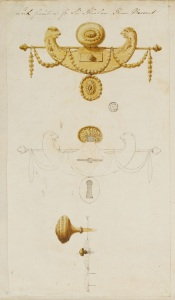 Adam office, design for door furniture for 31 Hill Street, c.1777-79