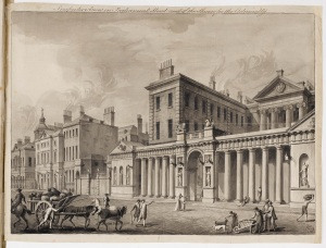 Adam office, drawing made for publication showing the Admiralty Screen, Whitehall, 1759