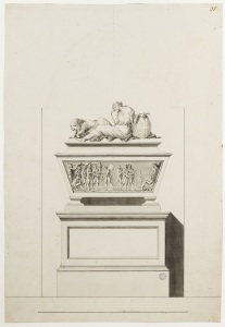 Adam office, finished drawing showing a funerary monument to Major John André , Westminster Abbey, c.1780-82