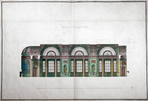 Adam office, finished drawing showing a longitudinal section through the interior of an unexecuted scheme for Lloyds Coffee House, probably on Freeman's Court, Cornhill, c.1772
