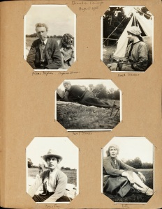 Brandon Camp, 1913. From top left: Julian Stephen, Daphne Olivier, Noel Olivier, Noel Olivier, Roger Fry, Vanessa Bell Photographs by Vanessa Bell and others, in Vanessa Bell's album, Tate (TGA 9020/3) © Tate Archive, London 2016.