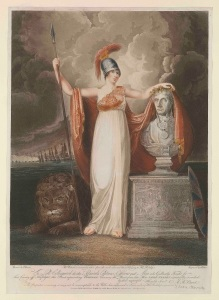 'Britannia crowning the Bust of our late Hero Lord Nelson', 1805 by Thomas Baxter ® National Maritime Museum, London