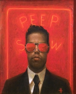 Peep Show II by Kevin Hendley. Oil on panel, 21 x 17cm. from Cameron Contemporary Art at the Affordable Art Fair Battersea.
