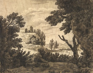 Alexander Cozens (1717 - 1786) Landscape with Buildings Drawing. 160 x 198 mm To be exhibited as part of the Loan Exhibition from Eton College Collections Reproduced by permission of the Provost and Fellows of Eton College