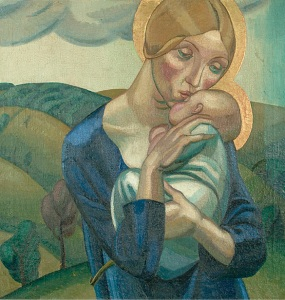 David Jones (1895-1974) Madonna and Child in a Landscape, 1924 Oil on canvas, 61 x 61 cm, Ditchling Museum of Art + Craft © Trusteesof the David Jones estate. Image courtesy of Ditchling Museum of Art + Craft