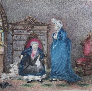 Lady Emily Dundas (d.1900) The Ladies of Llangollen at Plas Newydd Watercolour over traces of pencil, inscribed verso. 9.3 x 9.4 cm Karen Taylor Fine Art