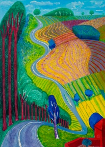 Going Up Garrowby Hill 2000 Oil paint on canvas 2133.6 x 1524 mm Private collection, Topanga, California © David Hockney