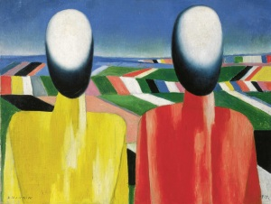 Kazimir Malevich, Peasants, c. 1930 Oil on canvas, 53 x 70 cm State Russian Museum, St. Petersburg Photo (c) 2016, State Russian Museum, St. Petersburg