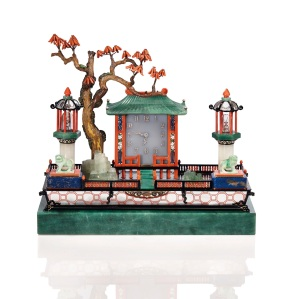 LOT 19 NÉCESSAIRE DE BUREAU ART DÉCO « JARDIN JAPONAIS », PAR CARTIER Estimation : €1.000.000-1.500.000 AN ART DECO 'JARDIN JAPONAIS' DESK SET, BY CARTIER Mouvement no. 2968872 ©Christie's Images Ltd, 2017