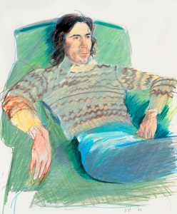 Ossie Wearing a Fairisle Sweater 1970 Coloured pencil and crayon on paper 430 x 355 mm Private collection, London © David Hockney