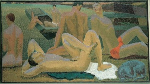 Duncan Grant (1885 -1978) Bathers by the Pond,c1920-21 Oil on canvas, 49x 90cm, Pallant House Gallery (Hussey Bequest, Chichester District Council) © 1978 Estate of Duncan Grant, courtesy Henrietta Garnett / DACS 2016