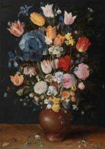Jan Brueghel the Elder, A Stoneware Vase of Flowers, c. 1607–1608, oil on panel, 56 × 89.5 cm, © The Fitzwilliam Museum, Cambridg
