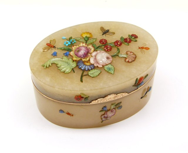 3. SJP - 18th century German carved gold mounted quartz box, attributed to Hoffmann