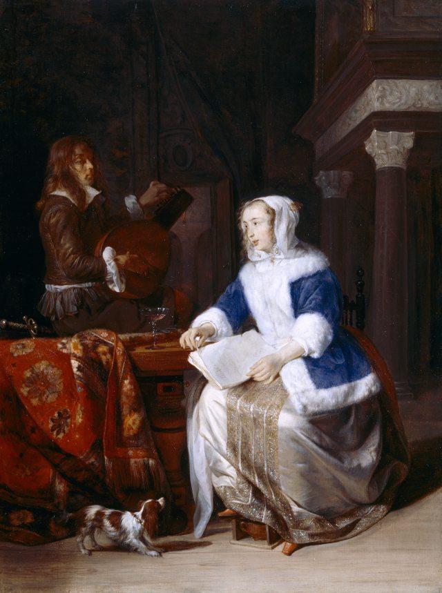 The Duet ('Le corset bleu') by Gabriel Metsu (Leyden 1629 ¿ Amsterdam 1669)